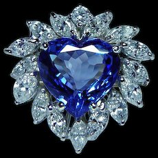 Vintage 18K Gold Diamond Marquise Tanzanite Heart Cocktail Ring Estate GIA