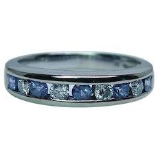 Vintage 14K White Gold Tanzanite Diamond Ring Band Anniversary Estate