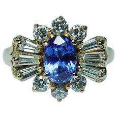 Vintage Gem Tanzanite Baguette Diamond 14K Gold Ring Estate - Red Tag Sale Item