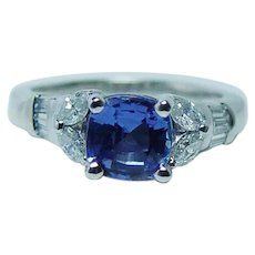 Vintage Cushion Tanzanite Marquise Diamonds Platinum Ring Estate