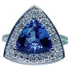 D Block Tanzanite Diamond Halo Ring 14K White Gold 4ct Trillion