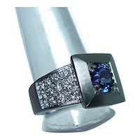 Gem Tanzanite Colorless Diamond Ring 18K White Gold Heavy VVS-E