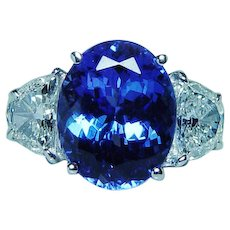 Vintage 18K White Gold 5.95ct Tanzanite Half Moon 1.3ct Diamond 3 stone Ring Estate GIA