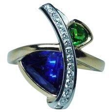 Krementz Platinum 18K Gold Tanzanite Diamond Tsavorite Ring