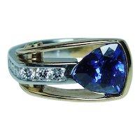Richard Krementz Platinum 18K Gold Tanzanite Diamond Ring RKG 1866
