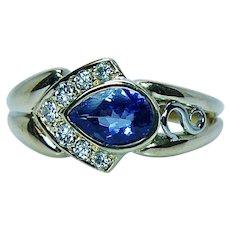 Krementz 18K Gold Tanzanite Diamond Ring Designer Signed