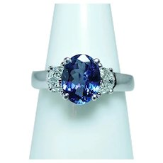 Half Moon Diamond Tanzanite 3 stone Ring 18K White Gold Estate Vintage