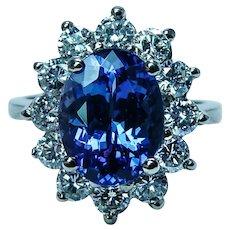 Huge Vintage 5.10ct Gem Tanzanite Diamond Halo Cocktail Ring Estate 14K Gold GIA Appraisal