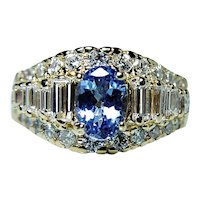 Vintage 2.5ct Tanzanite Baguette Diamond 14K Gold Ring