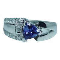 14K White Gold Tanzanite Baguette Diamond Ring