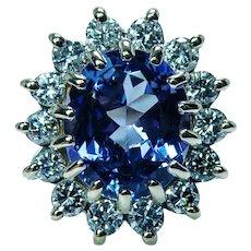 Huge Vintage 4.60ct Gem Tanzanite Diamond Halo Ring Estate 14K Gold GIA Appraisal