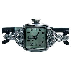 Vintage 14K White Gold Bulova Diamond Mechanical Ladies Watch