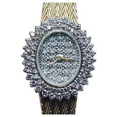 Solid 14K Gold 2ct Diamond Estate Watch Heavy 36.7gr more than 1oz ITALY Vintage