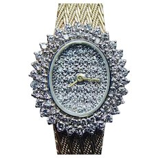 Solid 14K Gold Heavy 2ct Diamond Estate Watch  ITALY  36.7 grams