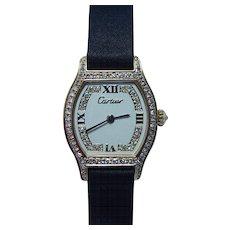 Vintage Cartier 18K Solid Gold Diamond Swiss Watch circa 1970s Box