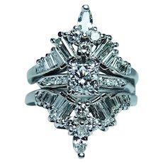 2.60ct Diamond Platinum Bridal Wedding Ring Set with Guard circa 1950s