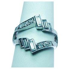 Vintage Baguette Round Diamond Wedding Guard Ring 14K White Gold Estate VS-G