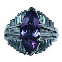 Vintage Baguette Diamond Amethyst Wedding Guard Ring 14K White Gold Estate