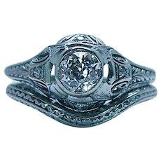 ART DECO Platinum Old European Diamond Wedding Ring Bridal Set