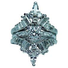 2.60ct Diamond Platinum Bridal Wedding Ring Set with Guard