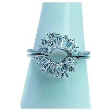 Vintage Baguette Round Diamond Wedding Guard Ring 14K White Gold Estate VS-F Size9