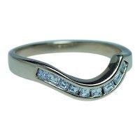 Asscher Diamond Anniversary Wedding Guard Ring 14K Gold
