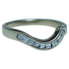 Vintage Asscher Diamond Anniversary Wedding Guard Ring 14K Gold Estate
