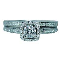 Designer Natalie K Diamond 14K White Gold Halo Wedding Ring Set