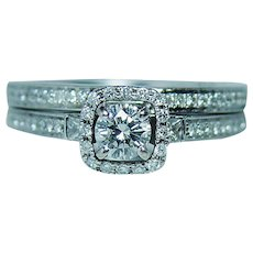 Designer Natalie K Diamond 14K White Gold Halo Wedding Ring Set