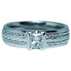 Novell Vintage Princess Diamond Mens Wedding Ring Band Estate Size 11.25