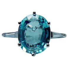 Vintage Platinum Natural Blue Zircon Baguette Diamond 3 stone Ring Estate