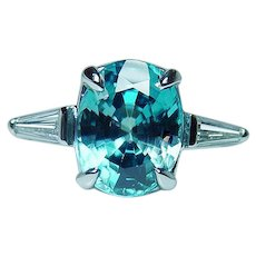 Vintage Platinum Natural Blue Zircon Baguette Diamond 3 stone Ring Estate