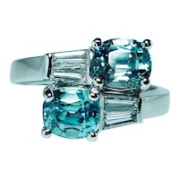 Vintage Platinum Natural Blue Zircon Cushion Baguette Diamond Ring Heavy