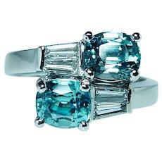 Vintage Platinum Natural Blue Zircon Cushion Baguette Diamond Ring Heavy