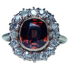 Antique Edwardian Old Mine Diamond Cognac Zircon Ring 14K Gold 1870s
