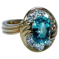 Krementz 18K Gold Natural Blue Zircon Diamond Ring Designer Signed