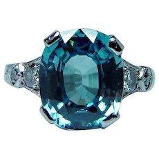 Vintage European Diamond 14K White Gold Cushion Natural Blue Zircon Flawless