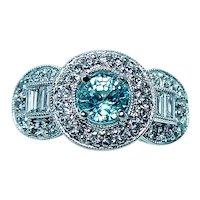 Vintage Natural Blue Zircon Diamond Halo Ring 18K White Gold