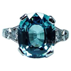 Art Deco Flawless Cushion Natural Blue Zircon European Diamond 14K White Gold