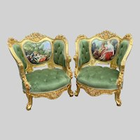 Set of two unique bérgéres in French Louis XVI style. Free worldwide shipping