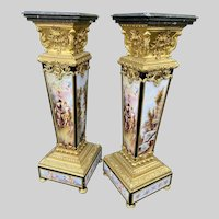 A unique pair of French Louis XVI style decorated collumns/pedestals. Free worldwide shipping