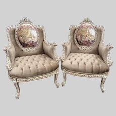 French Louis XVI Style Bergères Chairs - a Pair