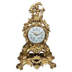 Early 1840's Antique Bronze Louis XV Pendulum Clock - FREE WORLDWIDE SHIPPING