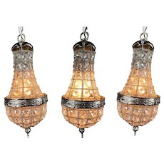 4 Small Basket Chandeliers in French Louis XVI Metal With Crystal