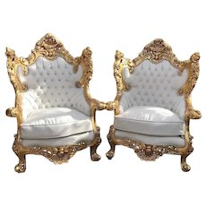 Italian Baroque Set of White Leather Chairs 1940's - 2 Pieces