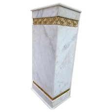 White marble column pedestal stand with bronze