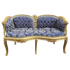 Sofa/Settee/Loveseat in French Louis XVI Style in Blue Damask and Gold Frame. 1940's