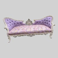 New Sofa/Settee/Couch in French Louis Louis XVI Style. Purple Damask With Cream/pastel Frame