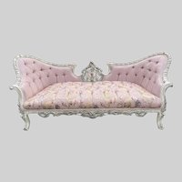 New Sofa/Settee/Couch in French Louis Louis XVI Style. Pink Damask With Cream/Pastel Frame