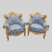 1940s Vintage Baroque/Rococo Style Blue Damask Chairs - a Pair